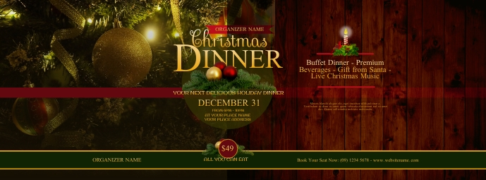 Christmas Dinner Facebook Cover Photo template