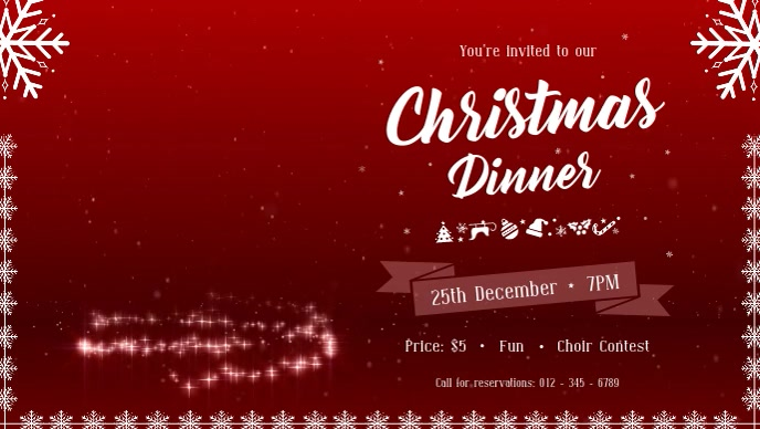Christmas Dinner Facebook Cover Video Ikhava Yevidiyo ye-Facebook (16:9) template