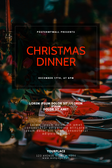 Christmas Dinner Flyer Design Template