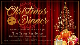 Christmas Dinner Invitation Facebook Cover Video Facebook-Covervideo (16:9) template