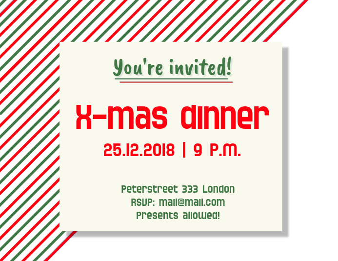 Christmas Dinner Invitation Flyer Template