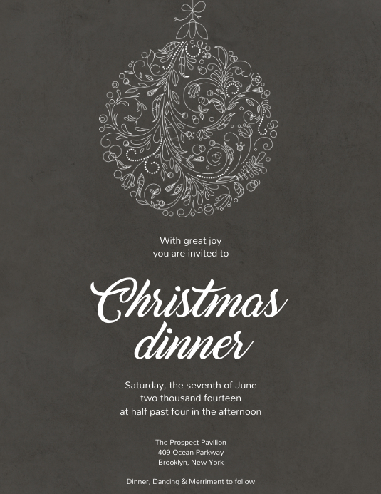 Christmas Dinner Invitation Template Postermywall