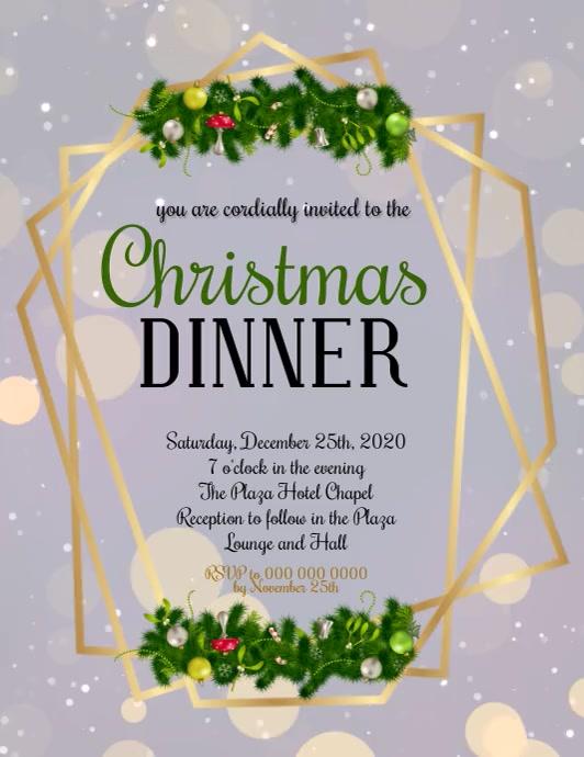 CHRISTMAS DINNER Invitation Template 传单(美国信函)
