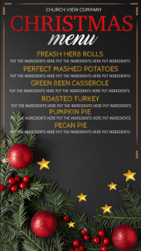 christmas dinner menu Ekran reklamowy (9:16) template