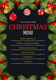 christmas dinner menu A4 template