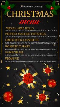 christmas dinner menu Digital Display (9:16) template