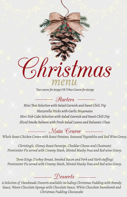 Christmas Dinner Menu Design Template