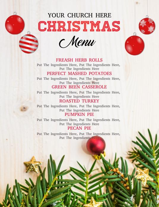 christmas dinner menu 传单(美国信函) template