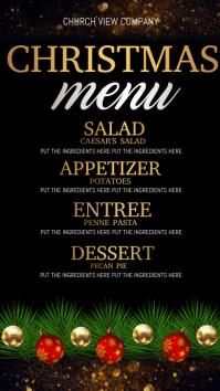 christmas dinner menu Tampilan Digital (9:16) template