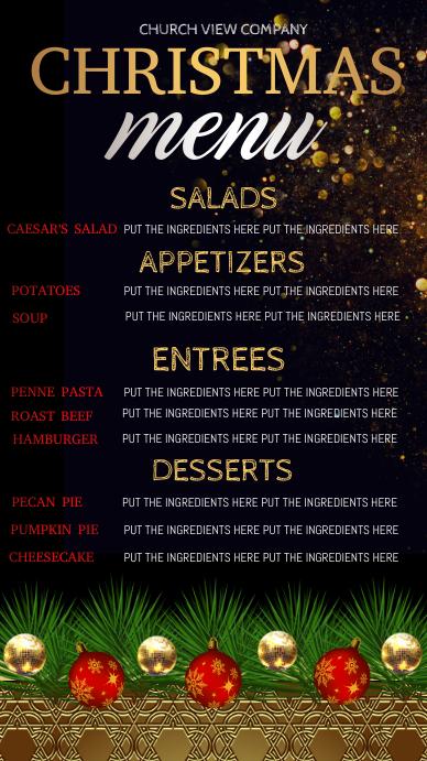 christmas dinner menu Ekran reklamowy (9:16) template