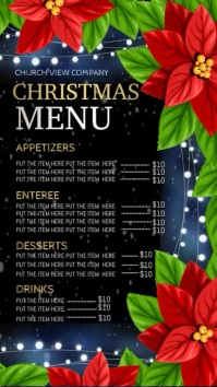 Christmas dinner menu digital display template
