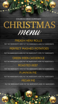 christmas dinner menu digital display Ekran reklamowy (9:16) template
