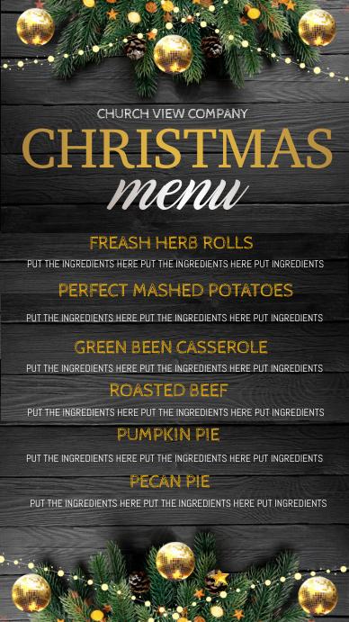 christmas dinner menu digital display Ekran reklamowy (9:16) template