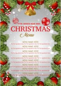 Christmas dinner Menu tempalte A4 template