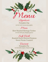 christmas DINNER MENU template Flyer (format US Letter)