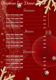 Christmas Dinner Menu Template A4