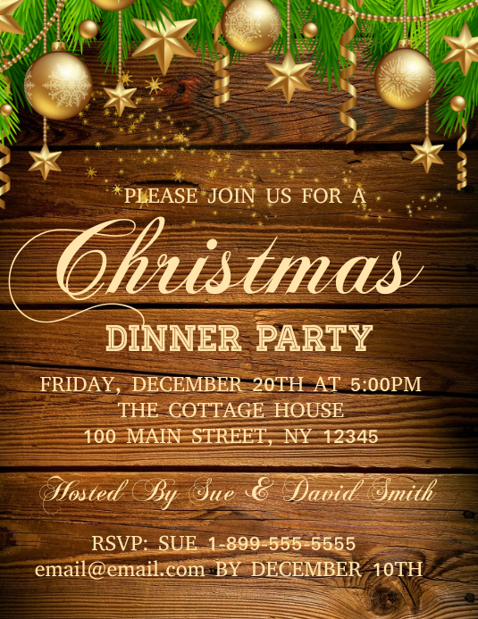 Christmas Dinner Party.Christmas Dinner Party Template Postermywall