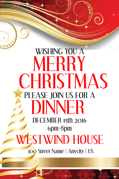 christmas dinner party template postermywall