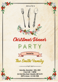 Christmas dinner party invitation A6 template
