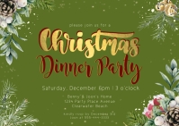 Christmas Dinner Party Invitation with Snow a Postcard template