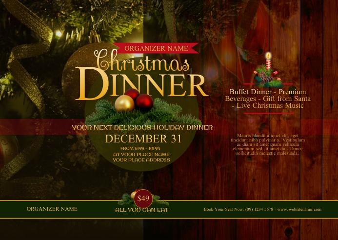 Christmas Dinner Postcard Postal template