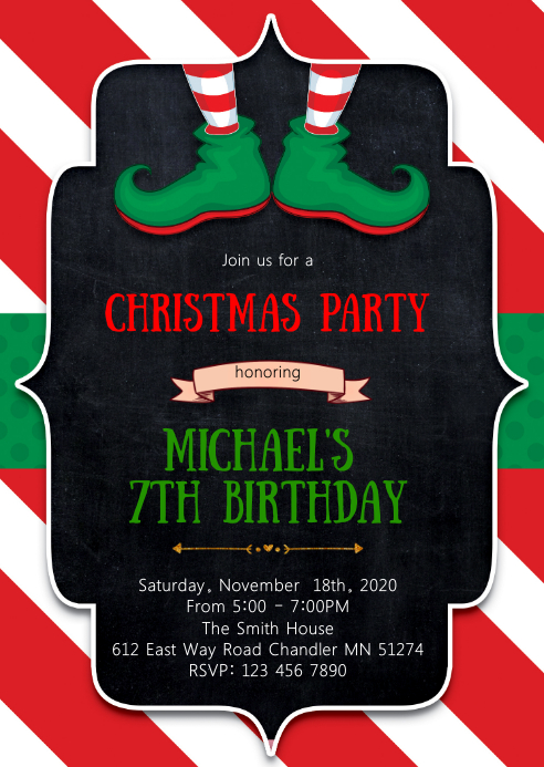 Christmas elf birthday party invitation A6 template