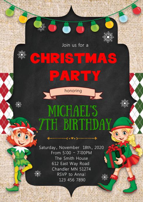 Christmas elf birthday party invitation
