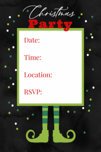 Christmas Elf Party Invitation Announcement Event Flyer