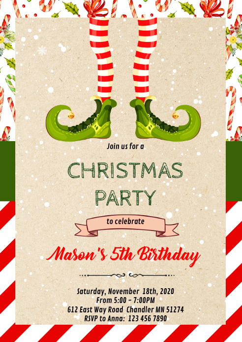 Christmas elf party Invitation A6 template
