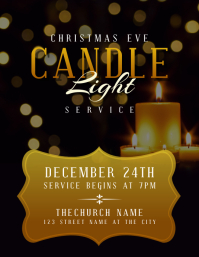 Christmas Eve Candle Light Church Service Flyer (US Letter) template