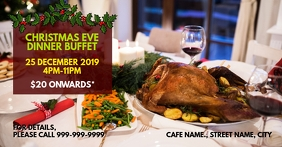 Christmas eve dinner buffet Facebook Event Cover template