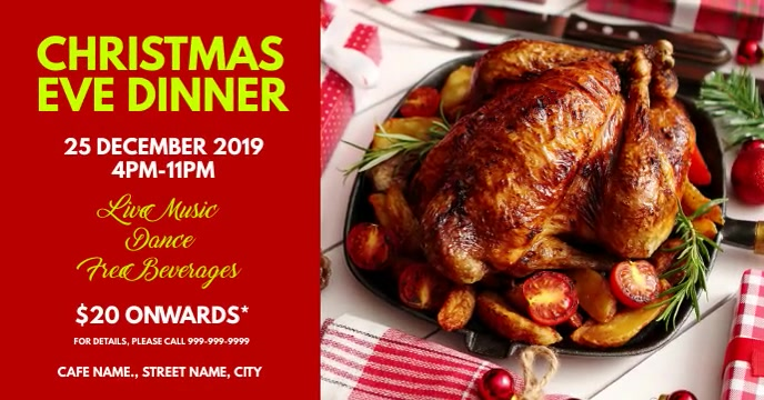 Christmas eve dinner Facebook Event Cover template