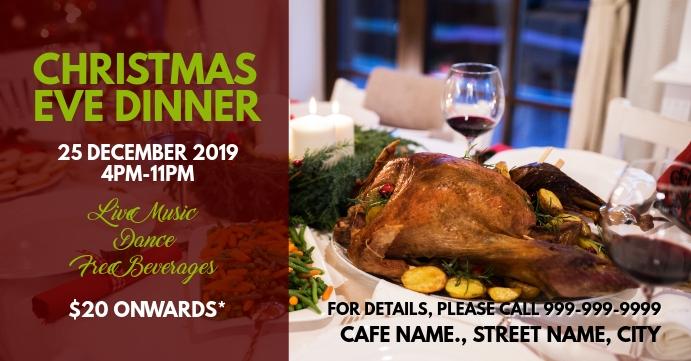 Christmas eve dinner Sampul Acara Facebook template