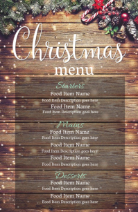 Christmas Eve Dinner Menu Template Half Page Wide