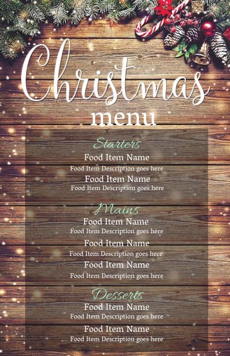 Christmas Eve Dinner Menu Template 半版