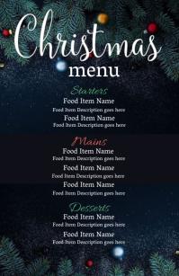Christmas Eve Dinner Menu Template Meia página larga