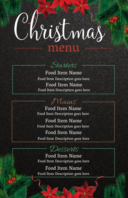 Christmas Eve Dinner Menu Template