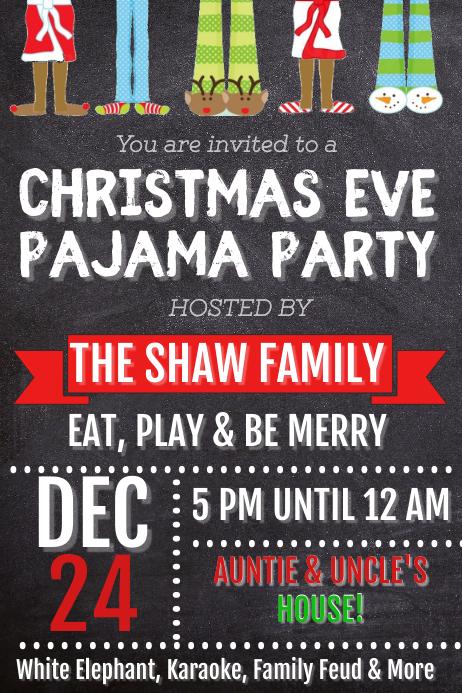 Christmas Eve Pajama Party Poster template