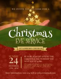 Christmas Eve Service Flyer Template Volante (Carta US)