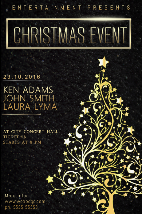 Christmas Event Concert Poster Template black and gold