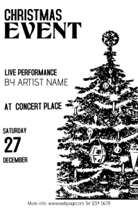 Christmas Event Concert Poster Template black and white