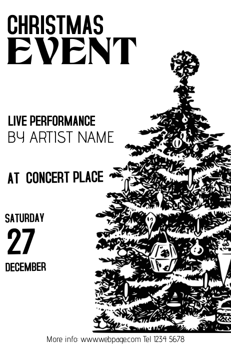 Copy of Christmas Event Concert Poster Template black and
