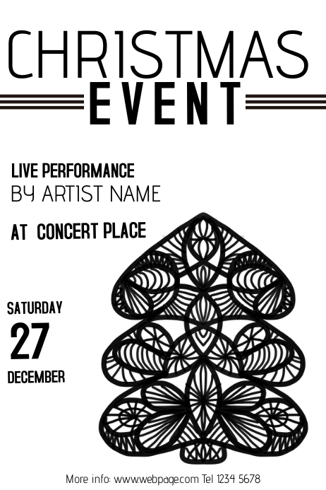 Christmas Event Concert Poster Template black and white | PosterMyWall