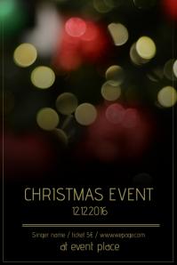 Christmas Event Concert Poster Template black bokeh