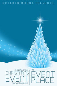 Christmas Event Concert Poster Template blue