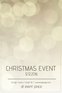 Christmas Event Concert Poster Template gold bokeh