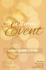 Christmas Event Concert Poster Template gold