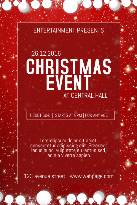 copy of christmas event concert poster template red