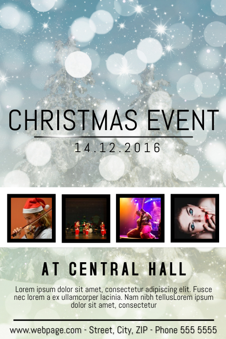 Christmas Event festival Concert Poster Template four photos ...