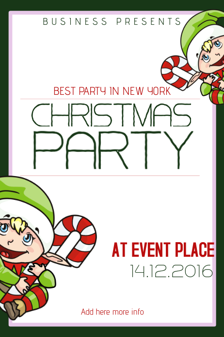 Christmas Event festival Concert Poster Template kids elf